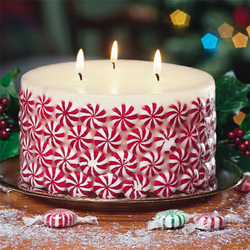 Candle with candy ornament