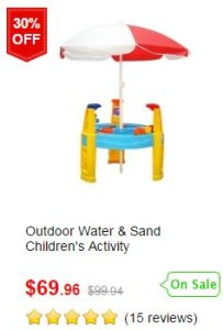 Outdoor Water & Sand Children Activity Play Transport Table with Accessories & Umbrella