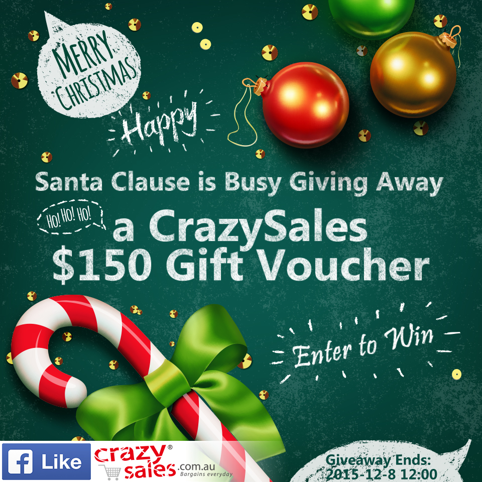 Enter Christmas Giveaway to Win a CrazySales $150 Gift Voucher