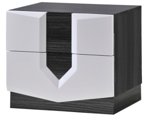 Global Furniture Nightstand, Zebra Gray and White High Gloss