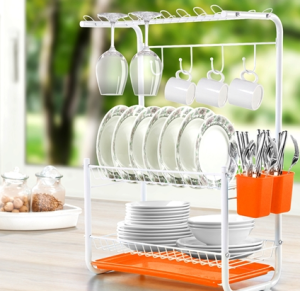 Orange 3-Tier Powder Coated Dish Rack with Drain Board