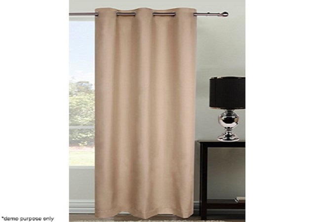 Eyelet Top Curtain Set - 1 Pass Coated Microfibre - Latte
