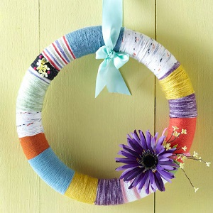 Easter yarn-wrapped wreath